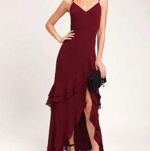 Lulu's Ruffled High Slit Dress